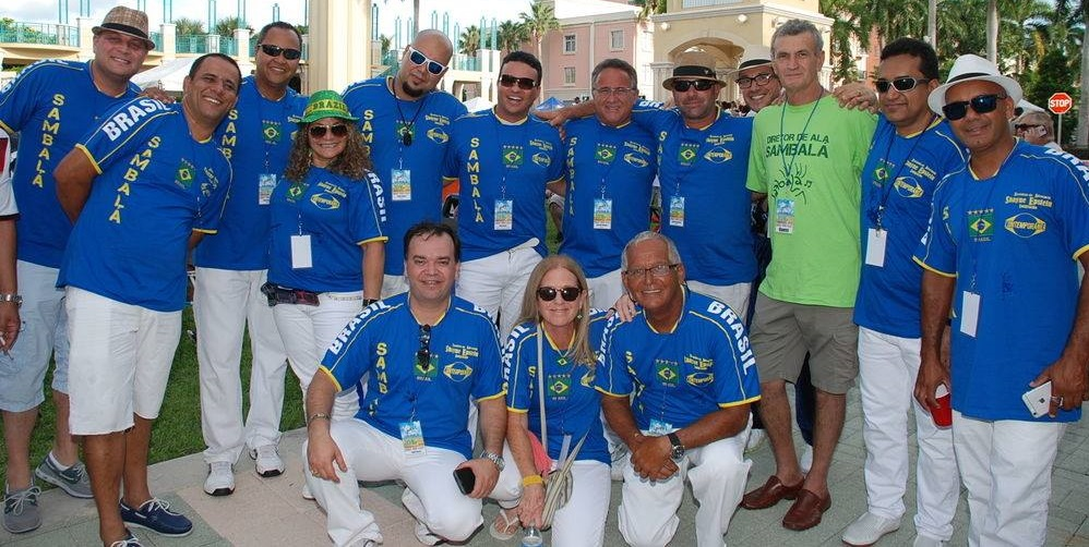 The SambaLa Bateria poses just before the big parade at Mizner Amphitheater during the Brazilian Beat festival in Downtown Boca Raton, 2016